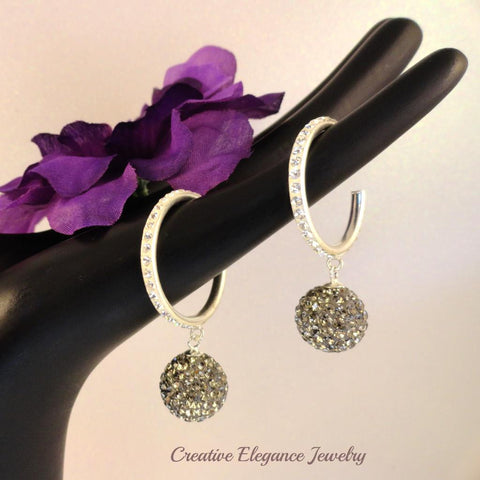 Black Diamond Crystal Ball, Small Hoop Earrings, set in 92.5 Sterling Silver