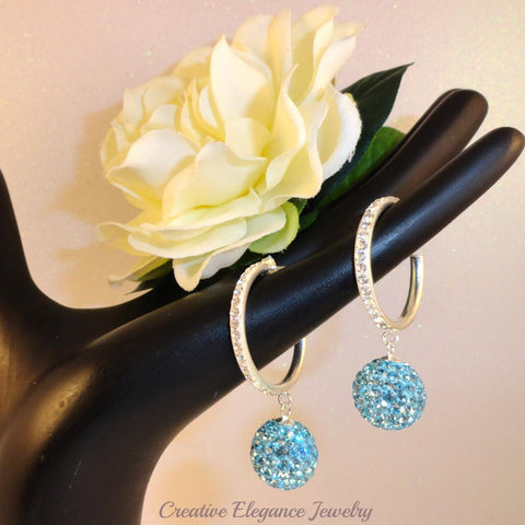 Aquamarine Crystal Ball, Hoop Earrings, set in 92.5 Sterling Silver