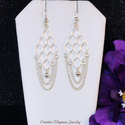 Chain Chandelier Earrings, Set in 92.5 Sterling Silver