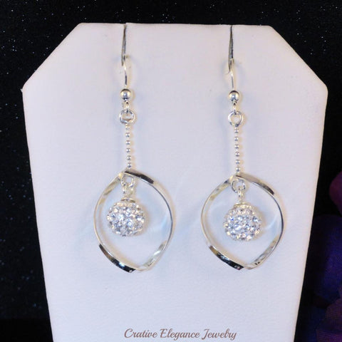 Crystal Ball, Drop Earrings Set in 92.5 Sterling Silver