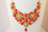 Orange and Pink Statement Necklace & Earrings Set