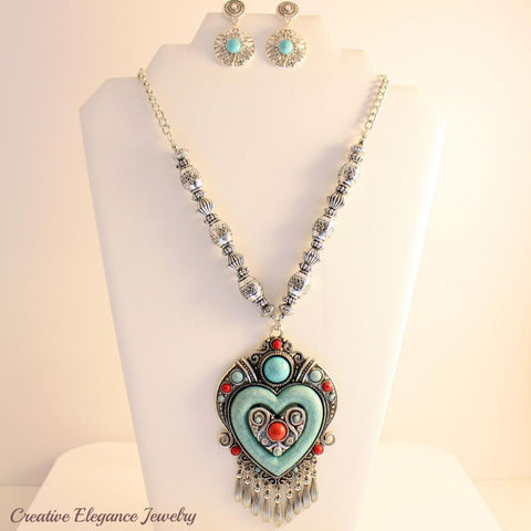 Turquoise Heart, Statement Necklace & Earrings Set
