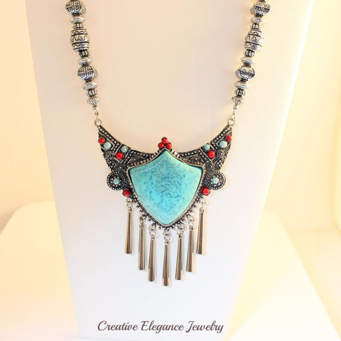 Turquoise, Statement Necklace & Earrings Set