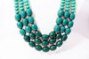 Green Color-Blocked, Layered Beaded Necklace & Earrings Set