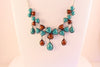 Turquoise and Brown, Fashion Necklace & Earrings Set