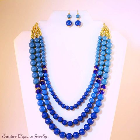 Layered Shades-of-Blue, Beaded Necklace & Earrings Set