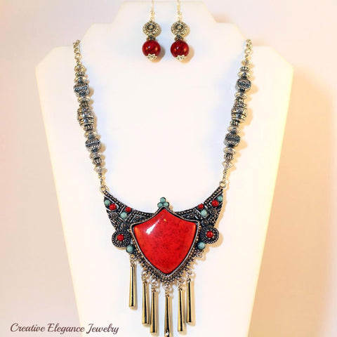 Red Turquoise, Statement Necklace & Earrings Set