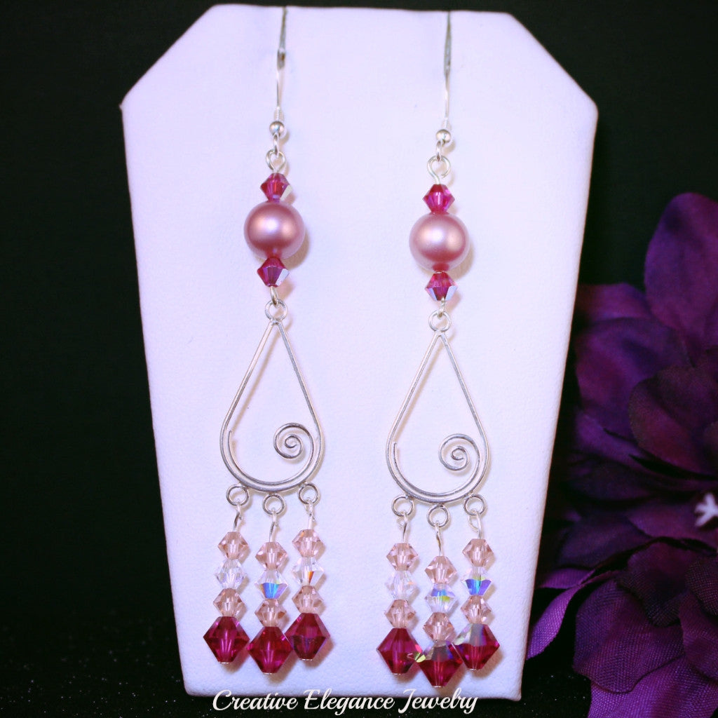 b94ea9db8d5c9 Swarovski Crystals, Powder Rose Pearl Chandelier Earrings, set in ...