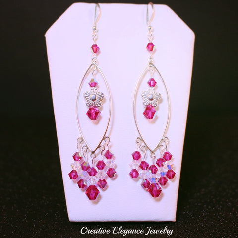 Swarovski Elements, Fuchsia and Crystal Sterling Silver Chandelier Earrings