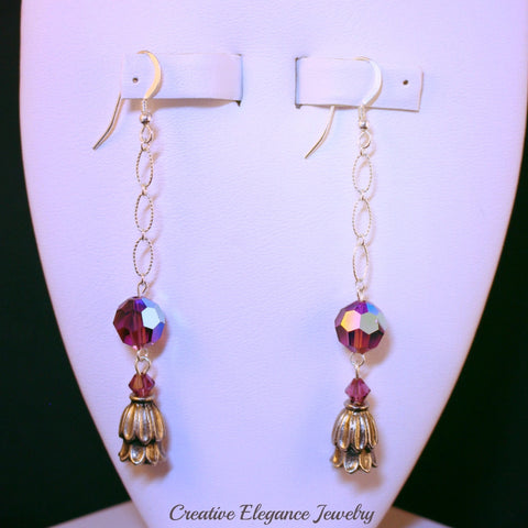 Swarovski Elements Amethyst, Bell Flower Dangle Earrings