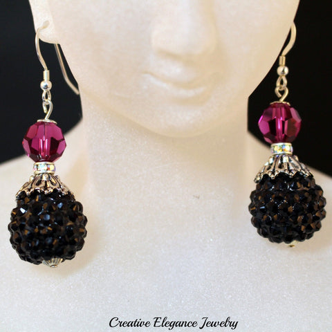 Swarovski Elements Amethyst, Disco Ball Pave Drop Earrings