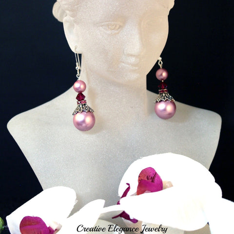 Swarovski Elements, Powder Rose Pearl and Ruby Drop Earrings