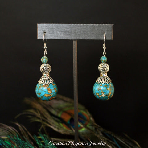 Mosaic Turquoise and Silver Dangle Earrings