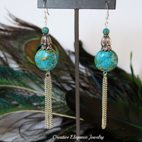 Mosaic Turquoise, Silver Chain Dangle Earrings