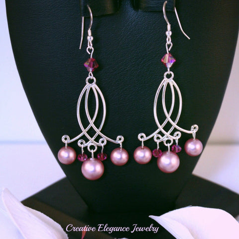 Swarovski Elements Powder Rose Pearl, Chandelier Earrings set in 92.5 Sterling Silver
