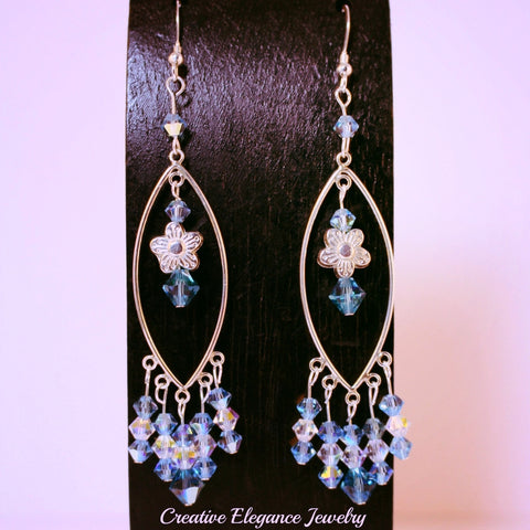 Swarovski Elements, Aquamarine and Indicolite Sterling Silver Chandelier Earrings