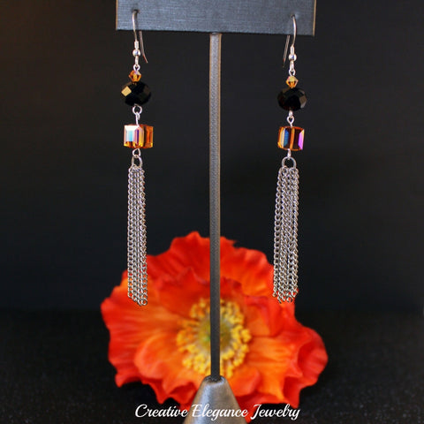 Swarovski Elements Topaz Cube, and Silver Chain Dangle Earrings