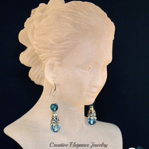Swarovski Elements, Aquamarine and Indicolite Drop Earrings