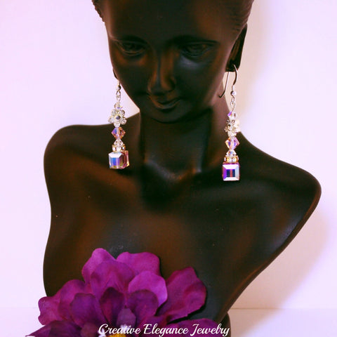 Swarovski Elements Light Amethyst, Cube Drop Earrings