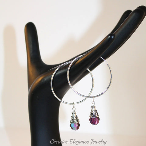 Swarovski Elements Amethyst Hoop Earrings, set in 92.5 Sterling Silver