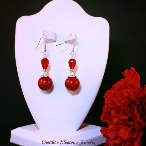Beaded Red and Silver Drop Earrings