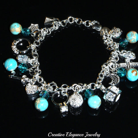 Blue Zircon Swarovski Elements and Blue Magnesite Gemstone Charms Bracelet