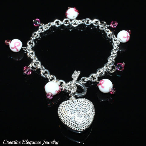 Cancer Awareness Swarovski Pink Ribbon Silver Heart Charms Bracelet
