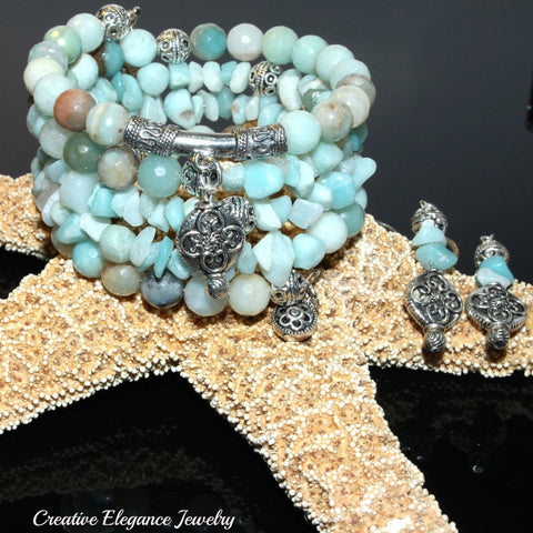 Amazonite Gemstone, Charms Cuff Wrap Bracelet And Earrings Set