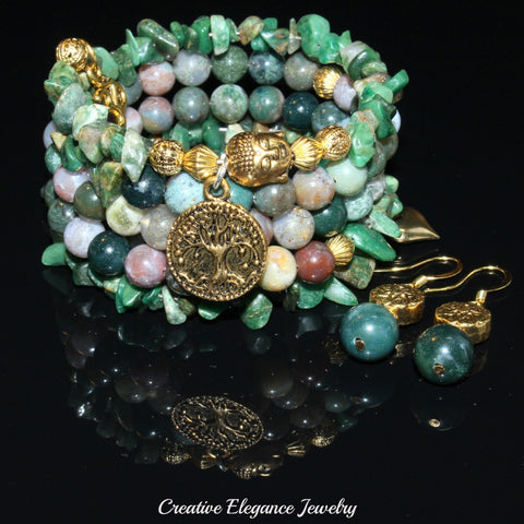 Fancy Jasper And African Jade Gemstones, Charms Cuff Wrap Bracelet And Earrings Set.