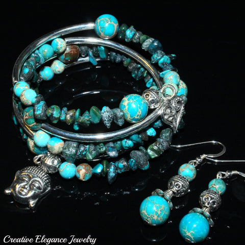 Blue Turquoise Magnesite, Imperial Jasper And Turquoise Gemstone, Charms Cuff Wrap Bracelet And Earrings Set.
