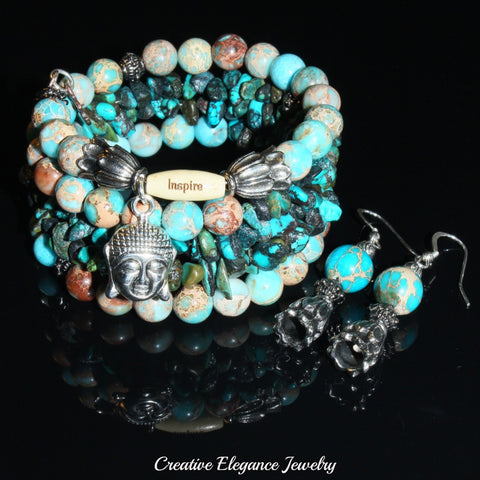 Blue Turquoise Magnesite, Imperial Jasper And Turquoise Gemstone, Buddha Charm Cuff Wrap Bracelet And Earrings Set