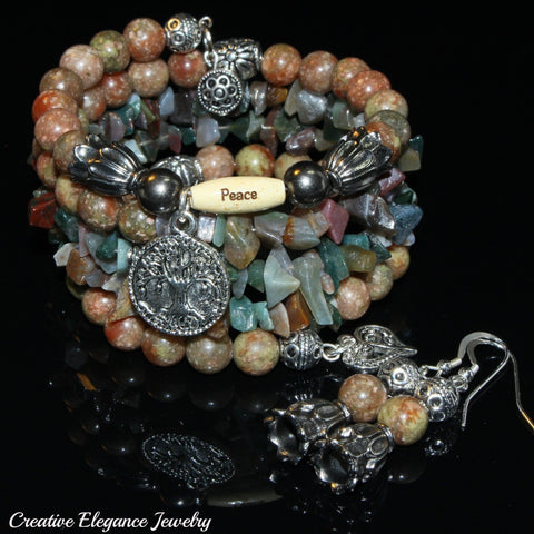 Pink Jasper And Indian Agate Gemstone, Charms Cuff Wrap Bracelet And Earrings Set.