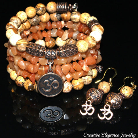 Picture Jasper And Red Aventurine Gemstone, Om Charms Cuff Wrap Bracelet And Earrings Set