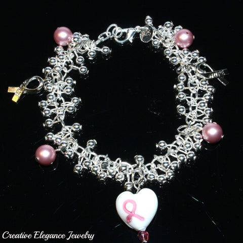 Pink Ribbon Breast Cancer Awareness Silver Charms Bracelet