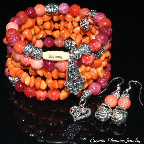 Quartzite Ruby Gemstone, Charms Cuff Wrap Bracelet And Earrings Set