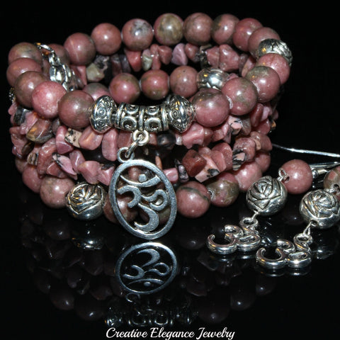 Rhodonite Gemstone, Om Charms Cuff Wrap Bracelet And Earrings Set.