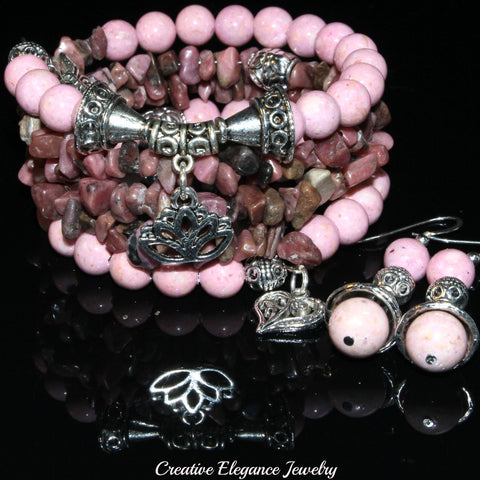 Pink Riverstone And Rhodonite Gemstone, Charms Cuff Wrap Bracelet And Earrings Set.