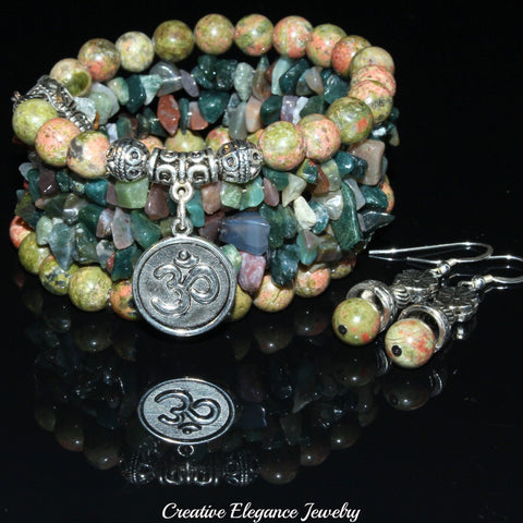 Unakite And Indian Agate Gemstone, Charms Cuff Wrap Bracelet And Earrings Set.