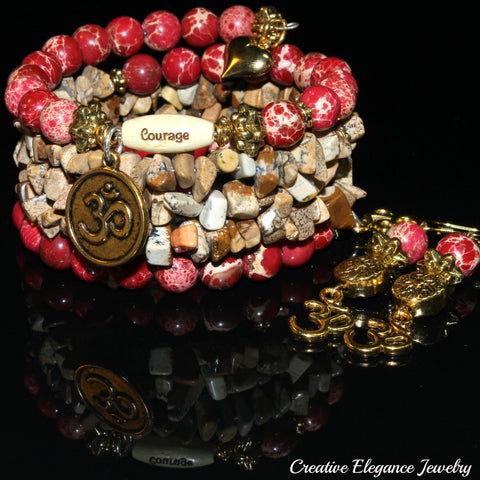 Red Imperial And Picture Jasper Gemstone, Om Charms Cuff Wrap Bracelet And Earrings Set