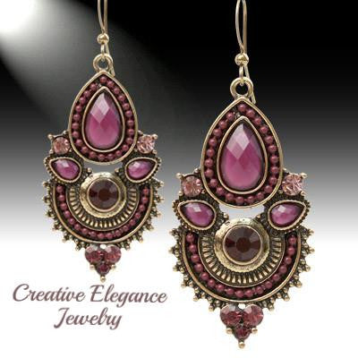 Bohemian, Purple Chandelier Earrings