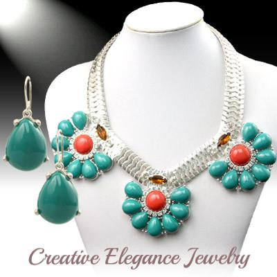 Fabulous Flower Cluster, Statement Necklace & Earrings Set