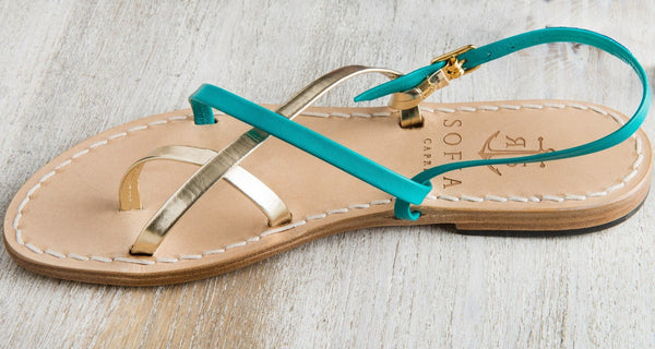 Sofia Capri sandals | Turquoise and gold sandals for women | Handmade in Capri