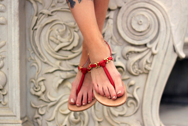 Red sandals by Sofia Capri | Handcrafted, Quality Leather Sandals Made in Capri
