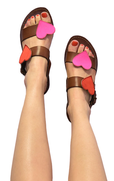 Via Acquaviva sandals in Brown with removable Star and Heart accessories