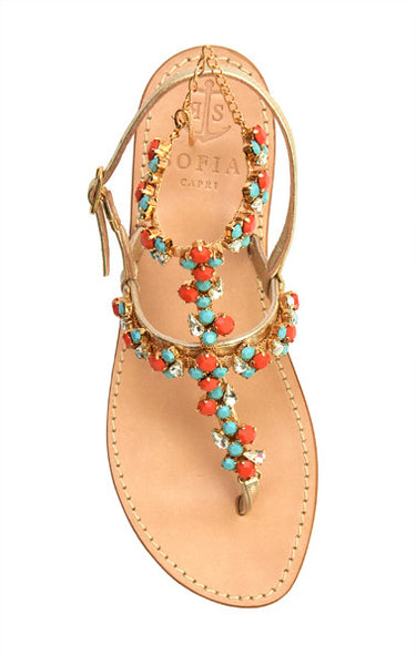 Via Marina Grande Ankle Strap - Champagne with Red and Turquoise Cabuchons featuring Swarovski