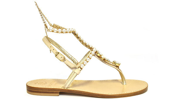 Via Marina Grande sandals in Nude featuring Faux White Pearls and Swarovski