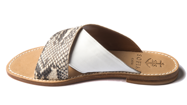 Via Cesina slip-ons in White and Natural Python