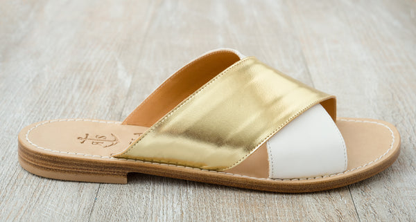 Via Cesina slip-ons in White and Gold