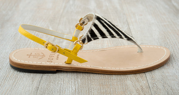 Sofia Capri sandals | Yellow and zebra print flats for women | Handmade in Capri