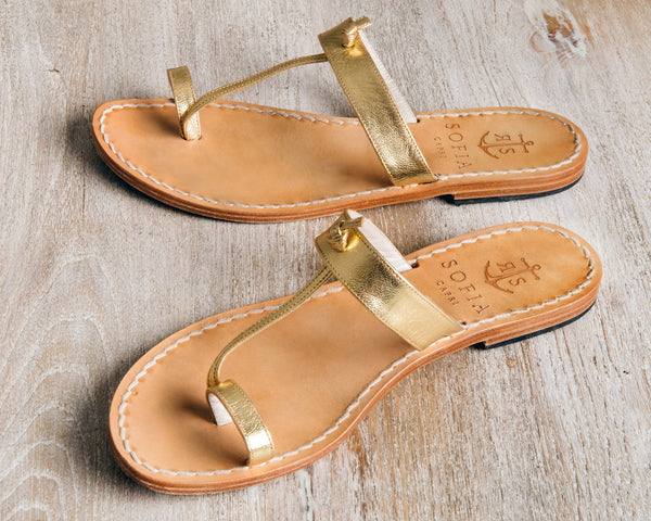 Gold Slides | Sofia Capri Sandals